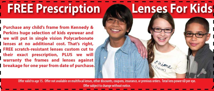 Save on kids lenses at Kennedy & Perkins