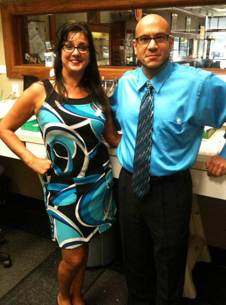 Branford store manager Catherine Capone and office Optometrist, Dr. Michael DeMeo