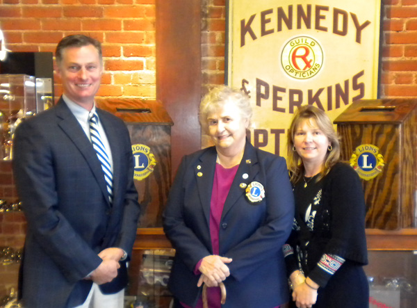 Rick Kennedy with Barbara Gould and Janet Greenlaw at the lions club